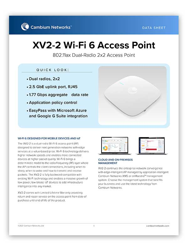 XV2-2 Wi-Fi 6 Access Point